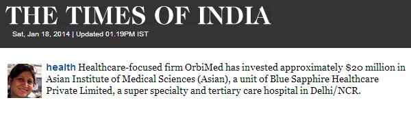 Orbimed invests in Asian hospi