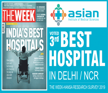 Asian Institute of Medical Sciences Voted as the 3<sup>rd</sup> Best Hospital in Delhi/NCR